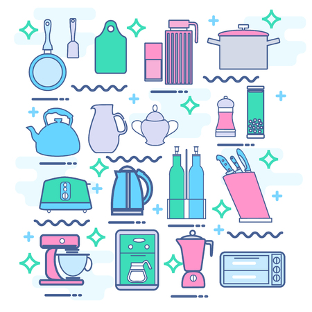 coffee blender: Line icons set with flat design elements of kitchen appliances set, utensils and kitchenware, cooking food preparation, frying pan, microwave oven and coffee machine, electric mixer, toaster, electric kettle, blender.