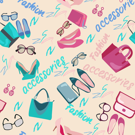 fashion shopping: Pattern seamless of woman accessories, bags, shoes and glasses. Fashion shopping background with women shoes, bags and accessories vector illustration