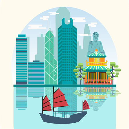 hong kong harbour: Vector Travel skyline harbour with tourist junk. Attractive Hong Kong travel concept poster design. Illustration