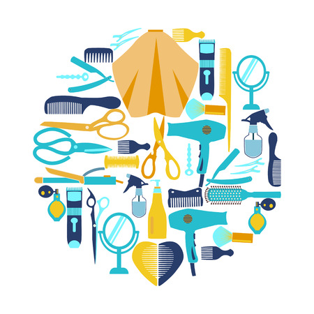 haircutting: Flat vector illustration Hairdressing and  barber shop related symbol.  Collection  silhouette of Haircutting tool and barbershop objects for Beauty salon, haircut fashion, barbershop . Illustration