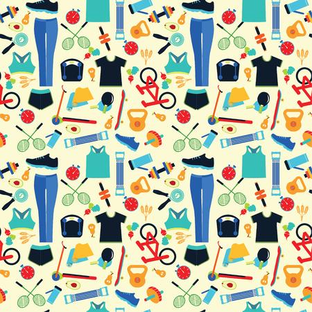 健康的なライフ スタイルの背景。健康的なライフ スタイル、スポーツ、フィットネスの概念のシームレスなパターン。 写真素材 - 64552807