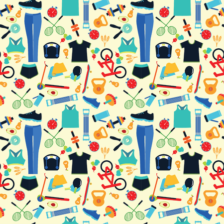 Healthy Lifestyle Background. Healthy lifestyle, sport, fitness concept seamless pattern. Stock Vector - 64552807
