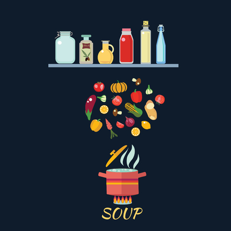 boiling: Cooking background with vegetables. Boiled water in pan. Vegetables in hot water. Soup recipe in flat cartoon style illustration