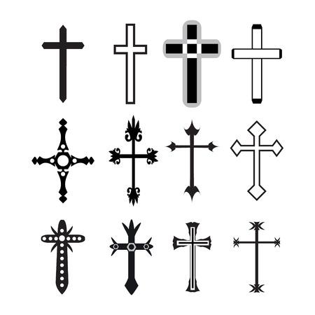 Vector iconos cristianos cruzados línea vectorial cruz cristiana Conjunto negro sobre fondo blanco. Ilustración de vector