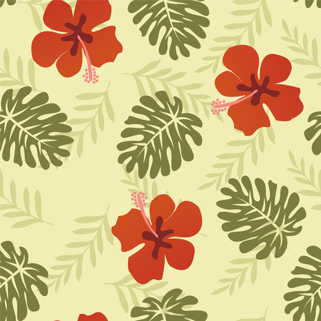 Hawaiian Pattern  with Monstera Tropical leaves and hibiscus - Illustration