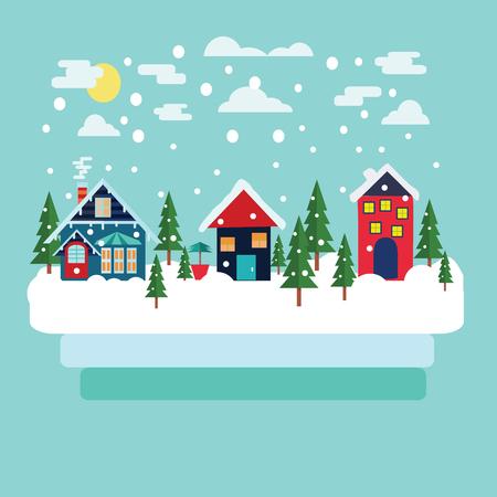 Diseño de tarjeta de felicitación de la Feliz Navidad con paisaje del país del invierno con los abetos en estilo moderno plana. Foto de archivo - 64553006
