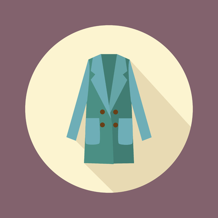 outerwear: Women double-breasted coat icon. Fashionable outerwear in flat style design with long shadow. Fashion Woman long coat illustration.