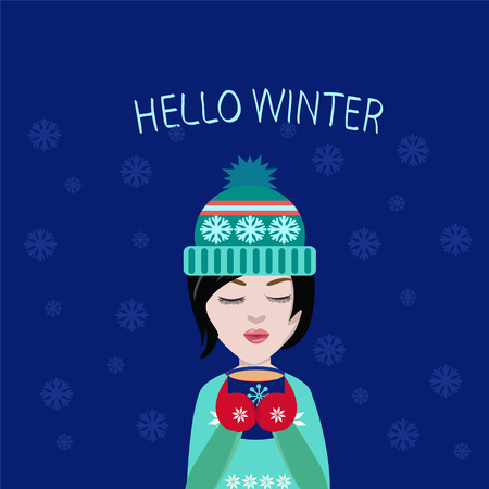 winter girl: vector winter illustration cute girl with cup of coffee or tea in his hands,Holiday card, Christmas card. Postcard Hello winter.