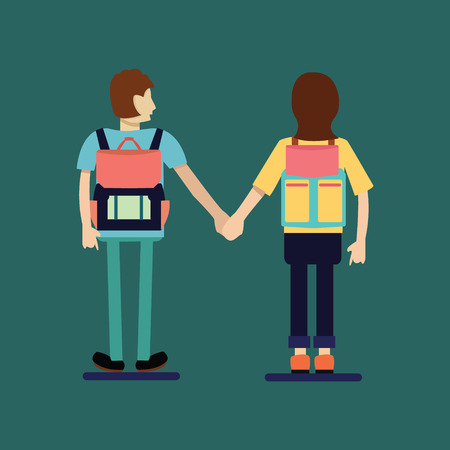 Couple traveler with Backpack. Couple of tourist  with Backpacks Standing Back View. Flat Style Illustration Illustration
