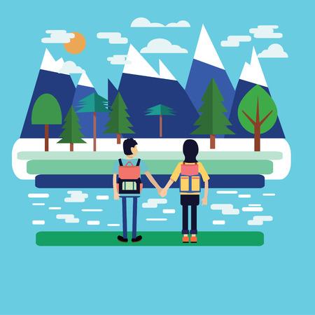 traveler: Couple traveler with Backpack. Couple of traveler  with Backpacks Standing and look at beautiful landscape. Flat Style Illustration