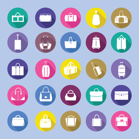 bag icon: Bags silhouettes icon set, fashion  bag collection in flat style with long shadow. Illustration