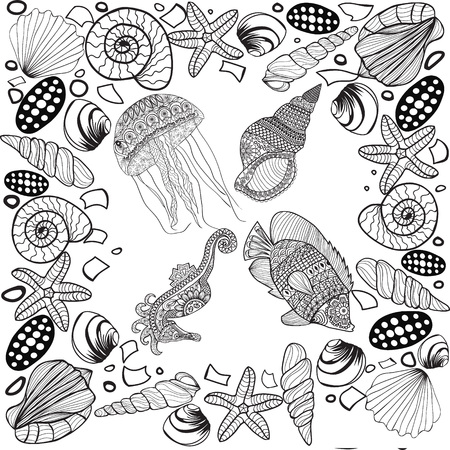 stylized composition of tropical fish, seahorse, jellyfish, shell, underwater corals. Underwater design for coloring book for adult, tattoo, T shirt design, element -illustration Vektoros illusztráció