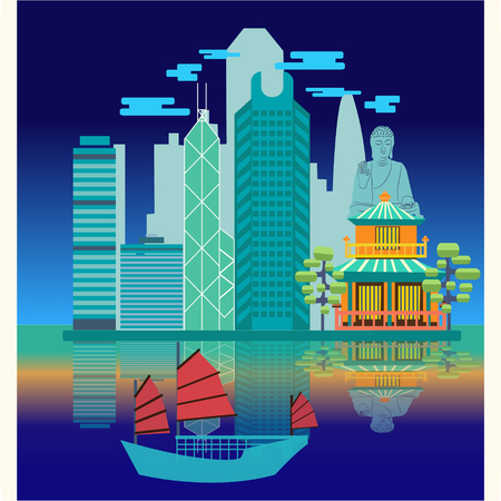 hong kong night: Travel skyline harbour with tourist junk. Attractive night view Hong Kong travel concept poster design.