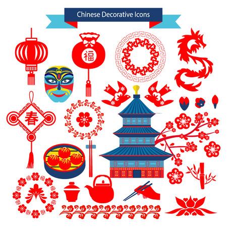 chineese: Chinese decorative icons and chineese travel symbols illustrator. Illustration