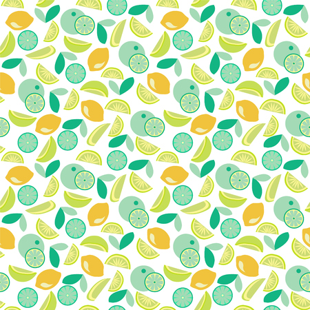 Seamless pattern with Lime, lemon and orange slices on light  background