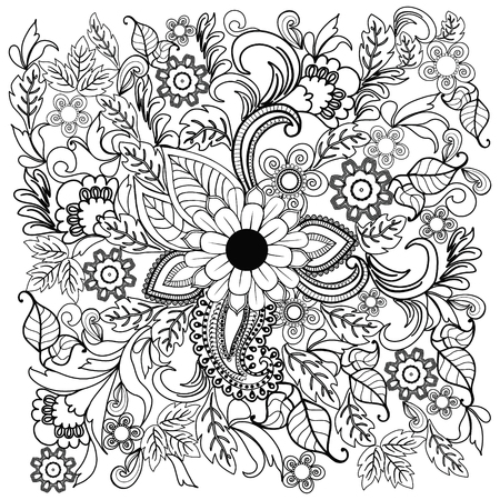 Ornamento del fiore di doodle di estate. Sfondo etnico disegnato a mano. Doodle fiori su un bianco per pagine da colorare per adulti e bambini. Archivio Fotografico - 79462857