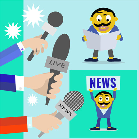 vector set icon Reporters with microphones of radio and television, news program concept.