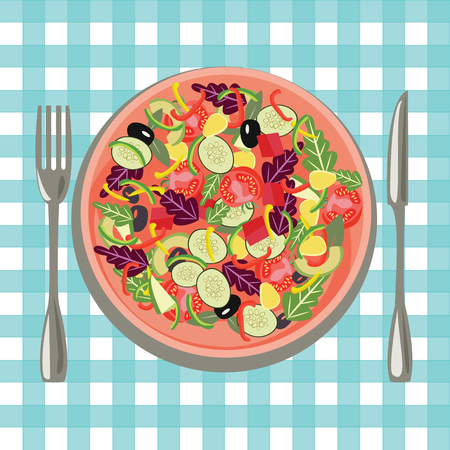 vector vegetables salad cartoon style Salad bowl. Healthy fresh food in a plate and vegetables on a table cloth background.