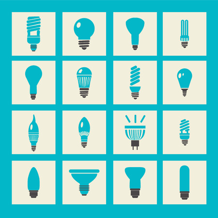 halogen: vector set light bulbs led lamps types fluorescent filament and halogen