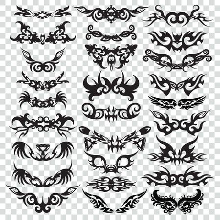 Élément de conception de jeu de tatouage tribal. Tribales Style Bordure Conception forme d'ornement, illustration noire, élément créatif. Vecteurs