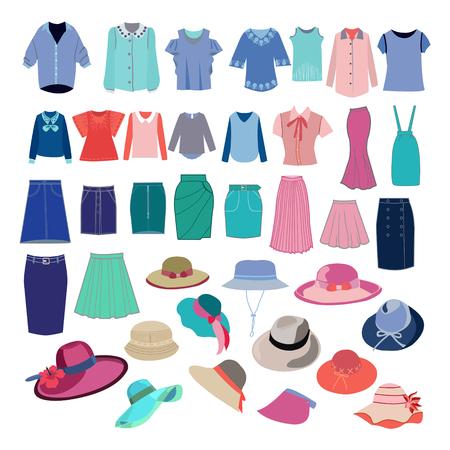 異なるファッションクロスとアクセサリーコレクションで設定します。ベクターファッション女性のシャツ、スカート、あなたのデザインのための