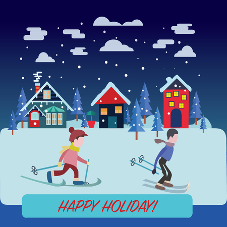 Beautiful winter landscape with winter landscape holidays concept. Flat vector illustration of people skiing. Men rides on skis, Illustration in flat design style. Illustration