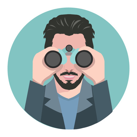 Young bearded man looking through a binocular.