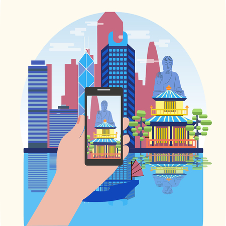 Hand holding phone with skyline landscape on screen. Vacation booking concept. Smart Phone Taking Photo Of Attractive Hong Kong travel concept. Illustration