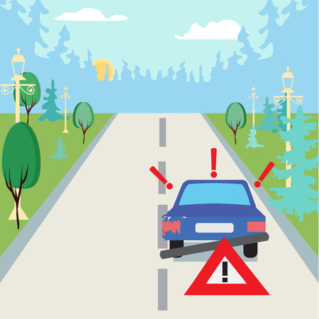 Accident car at suburbs on the road and traffic sign behind. Vehicle sedan car accident after a car accident with the forest as a backdrop. Illustration