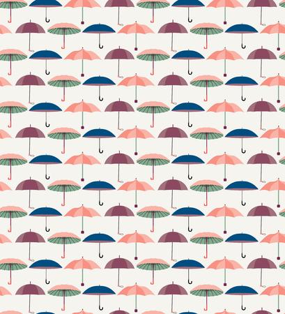 Vector Mignon modèle sans couture avec un ensemble de parapluies plats texturés