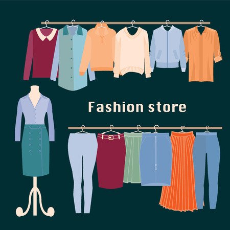 Clothing store. Boutique indoor Fashion store. Flat design vector illustration. Clothes on hangers.