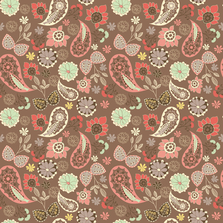 hand drawn cute graphical oriental paisley pattern with flowers