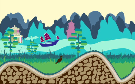 cartoon nature landscape with river, trees, road and mountains game style illustration Illustration