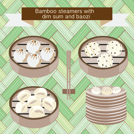 A Vector set of Bamboo steamers with dim sum and baozi-illustration Reklamní fotografie - 86093543