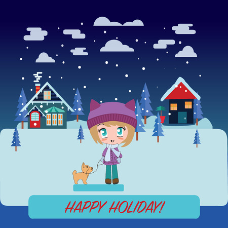 chibi: pretty girl with cute dog. Winter landscape with Beautiful cartoon chibi girl,  holidays concept.