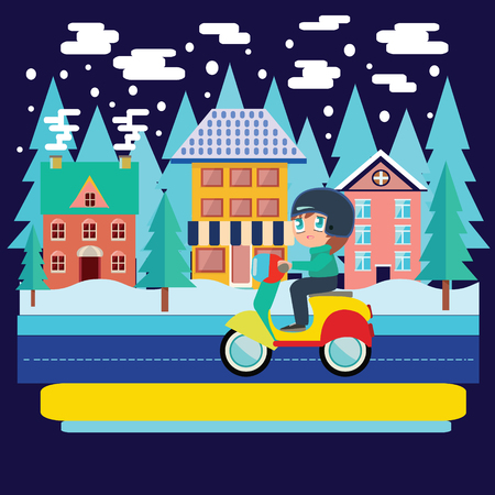 chibi: Merry Christmas and winter holiday greeting card design with Winter city landscape and  Boy Riding scooter, motorcycle in flat vector illustration.
