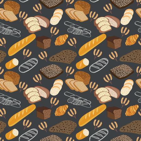 Pattern of bakery food bread, rye bread, ciabatta, wheat bread, whole grain bread on black background