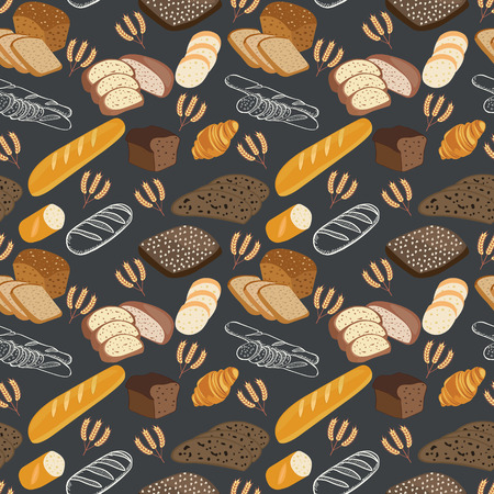 Pattern of bakery food bread, rye bread, ciabatta, wheat bread, whole grain bread on black background