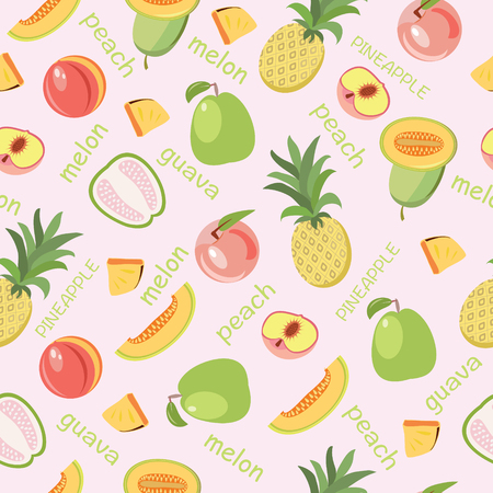 Vector seamless background of fruits peach, guava, melon, pineapple in pink backdrop. Healthy food fruit illustration  for wallpaper, wrapping paper, invitation cards, textile print. Stock Illustratie