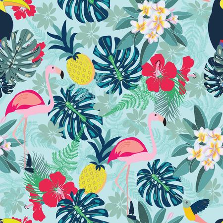 Nahtloses dekoratives Muster mit Flamingo-, Ananas-, Tukan- und Monsterablättern. Tropische Betriebsillustration mit Früchten und exotischem Vogel. Modedesign für Gewebe, Tapete, Gewebe.