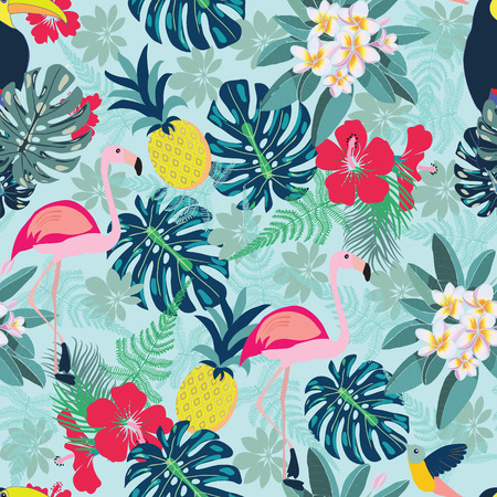 Seamless decorative pattern with flamingo, pineapple, toucan and monstera leaves. Tropical plants illustration with fruits and exotic bird.Fashion design for textile, wallpaper, fabric. Ilustracja
