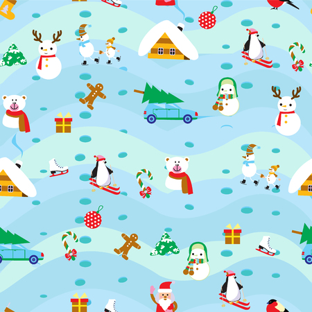 Vintage Christmas elements seamless pattern background Suitable for textile, gift cards and gift wrapping paper.