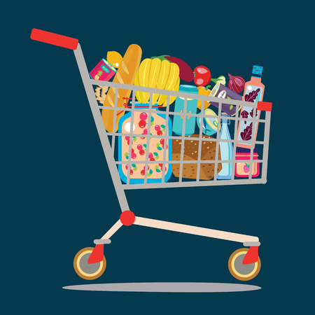 Supermarket shopping cart app icon isolated on black.  Shopping cart full of groceries products. Illustration