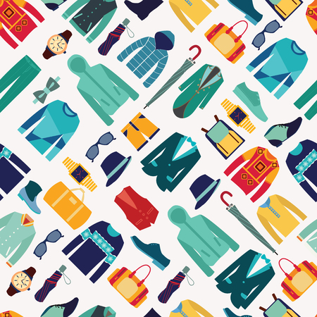 vector seamless pattern fashionable mens wear background for use in design cloth and accessories illustration Illustration
