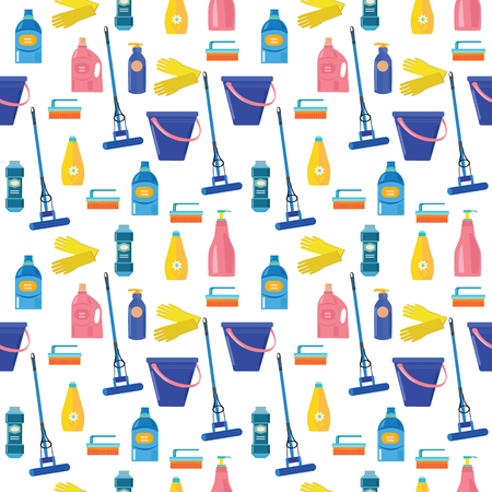 Seamless background pattern with colored Cleaning tools and equipment for work Banco de Imagens - 92132284