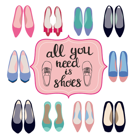 Hand darwn Fashion background Of Spring summer collection of women shoes and  Lettering text all you need is shoes illustration for shoes shop.