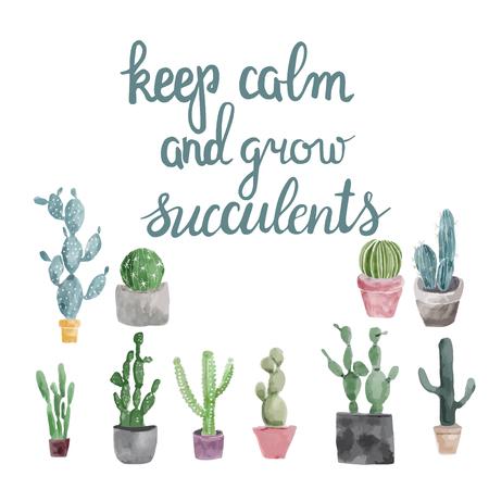 Ensemble de cactus, plantes succulentes et citation de calligraphie dessinés à la main gardez votre calme et cultivez des plantes succulentes.