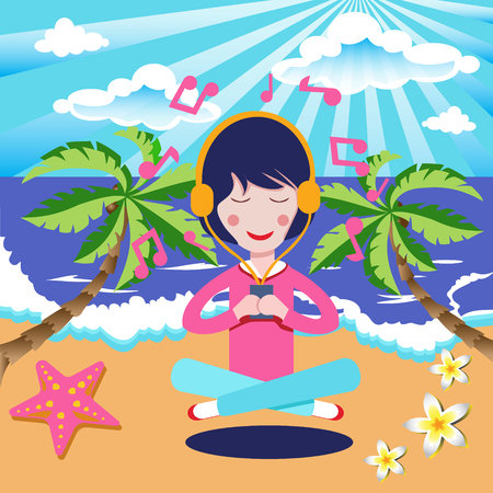 Happy Girl with headphones listening to the music in seaside beach. Vector illustration flat cartoon pretty woman