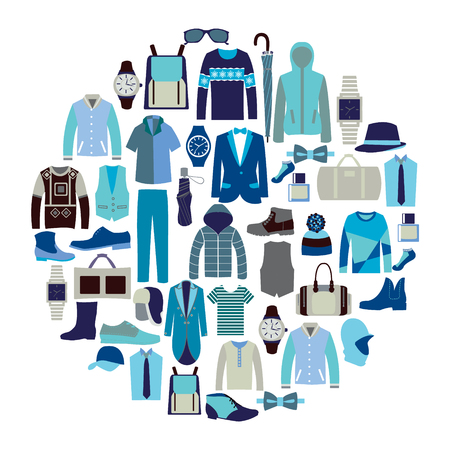 Vector set icon of Fashion collection of man wardrobe. Various male clothing . Set of flat men clothes and accessories icons - Illustration