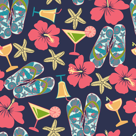 Pattern in beach style. Summer vacation retro pattern. Vintage hand drawn texture with beach objects hibiscus, cocktail, sea star, flip flops.